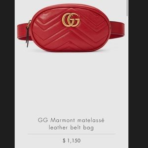 Red Gucci fanny pack